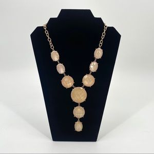 Jewelry - Bubble Necklace Gold Cream Y Drop Yellow Tone